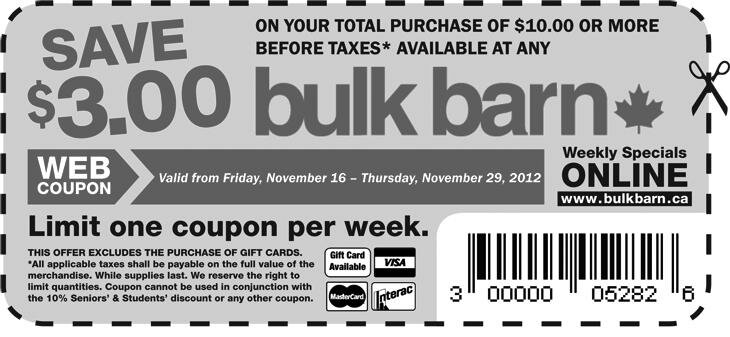 Save $3 when you spend $10 at BULK BARN