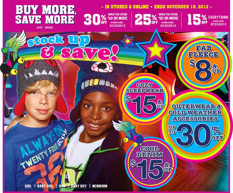 Children's Place SALES and DEALS – sale ends Nov. 18, 2012