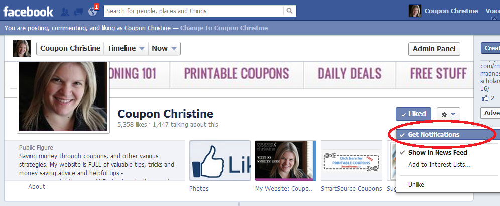 GET NOTIFIED from Coupon Christine's Fan Page ~ Making sure you don't miss a single post!