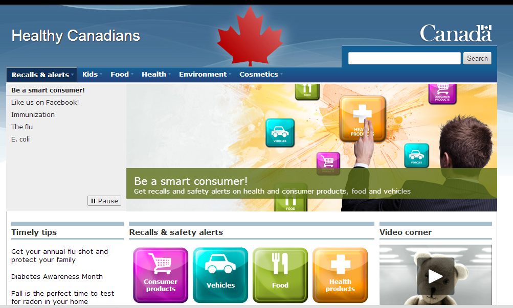 *NEW* Healthy Canadians Website for Canadian Recalls and Notices of Safety