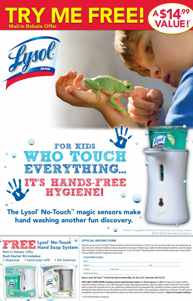 Lysol Canada's No-Touch Magic Sensor Hand Soap Dispenser – PRINTABLE Mail in Rebate