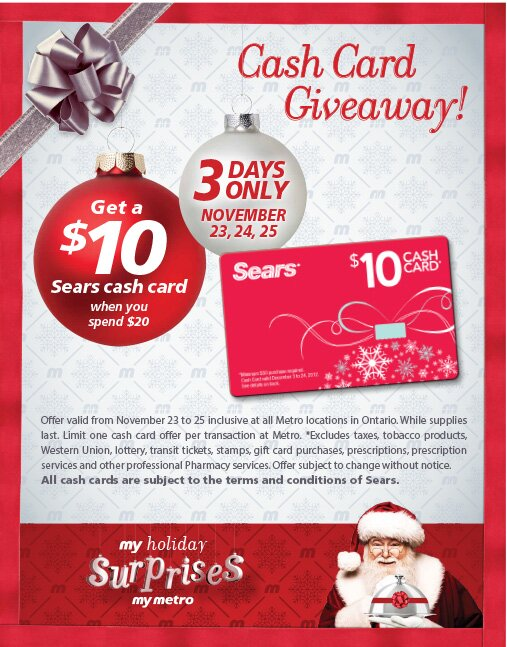 Get a FREE $10 SEARS CASH CARD with any $20 purchase at Metro – 3 days only
