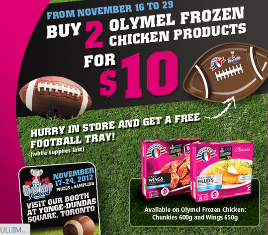FREE OLYMEL Football Tray with Purchase at Metro