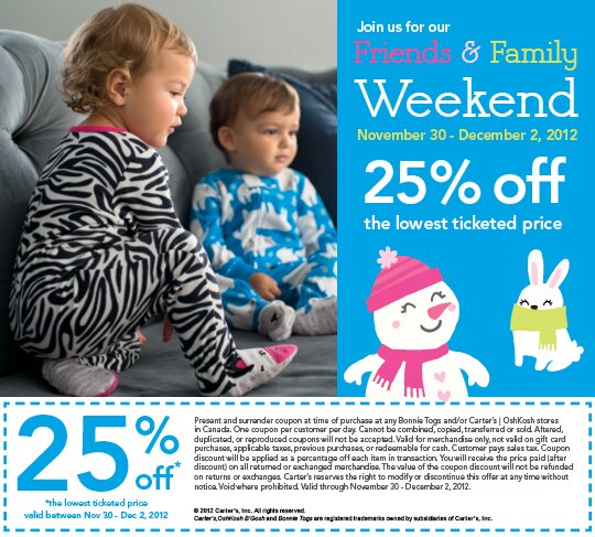 Bonnie Togs – Friends and Family Event this weekend – 25% off!
