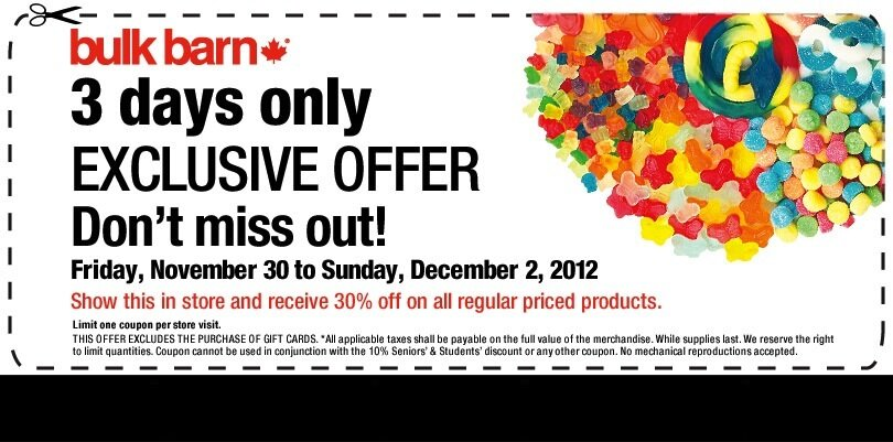 30% off Sale at Bulk Barn – 3 days only (Nov. 30 – Dec. 2, 2012)