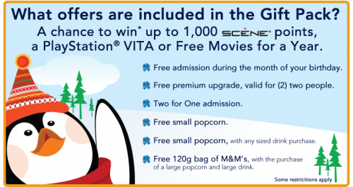 Cineplex Odeon Christmas Gift Pack FREEBIES + chances to WIN!
