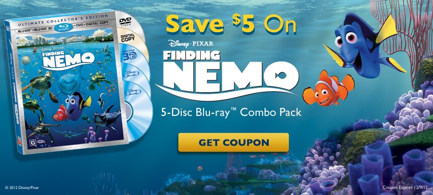 $5 off Finding Nemo 5 Disc Blu-Ray Combo Pack