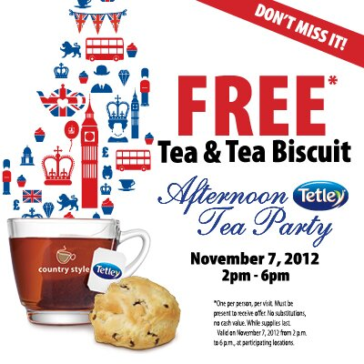 FREE Tea + Biscuit at Select Country Style Locations from 2 – 6pm ToDAY – Ontario
