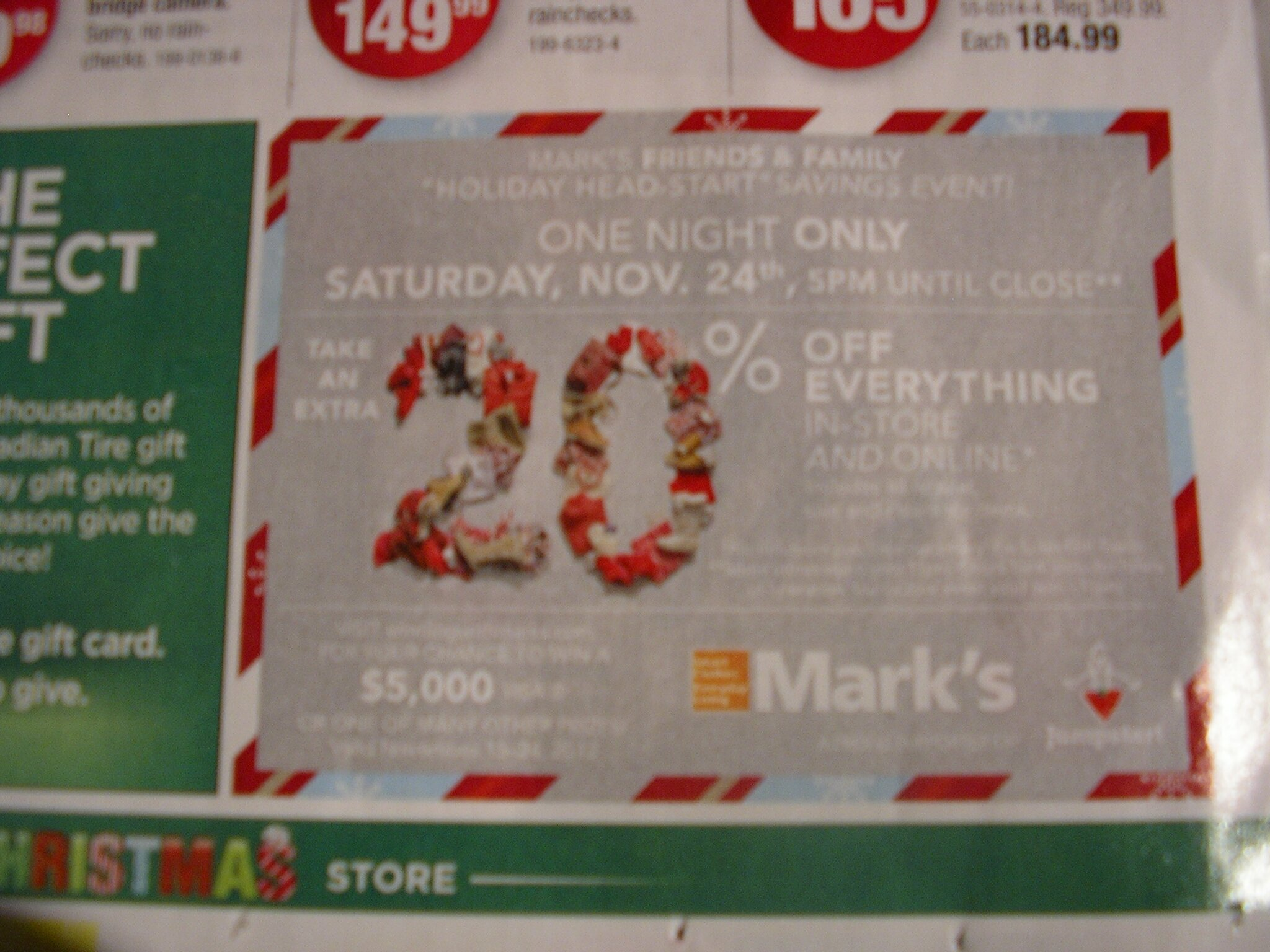 20% Off EVERYTHING at Mark's – Nov. 24, 2012, 5pm – close