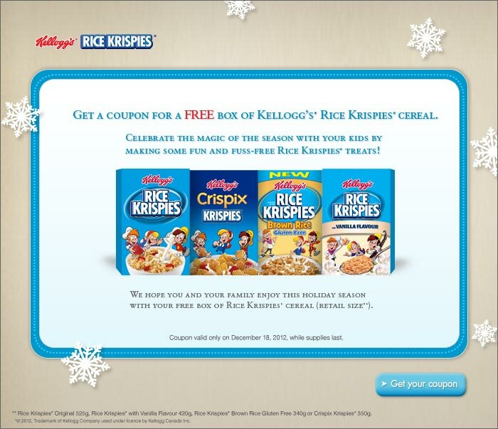 FREE BOX of RICE KRISPIES in your EMAIL INBOX