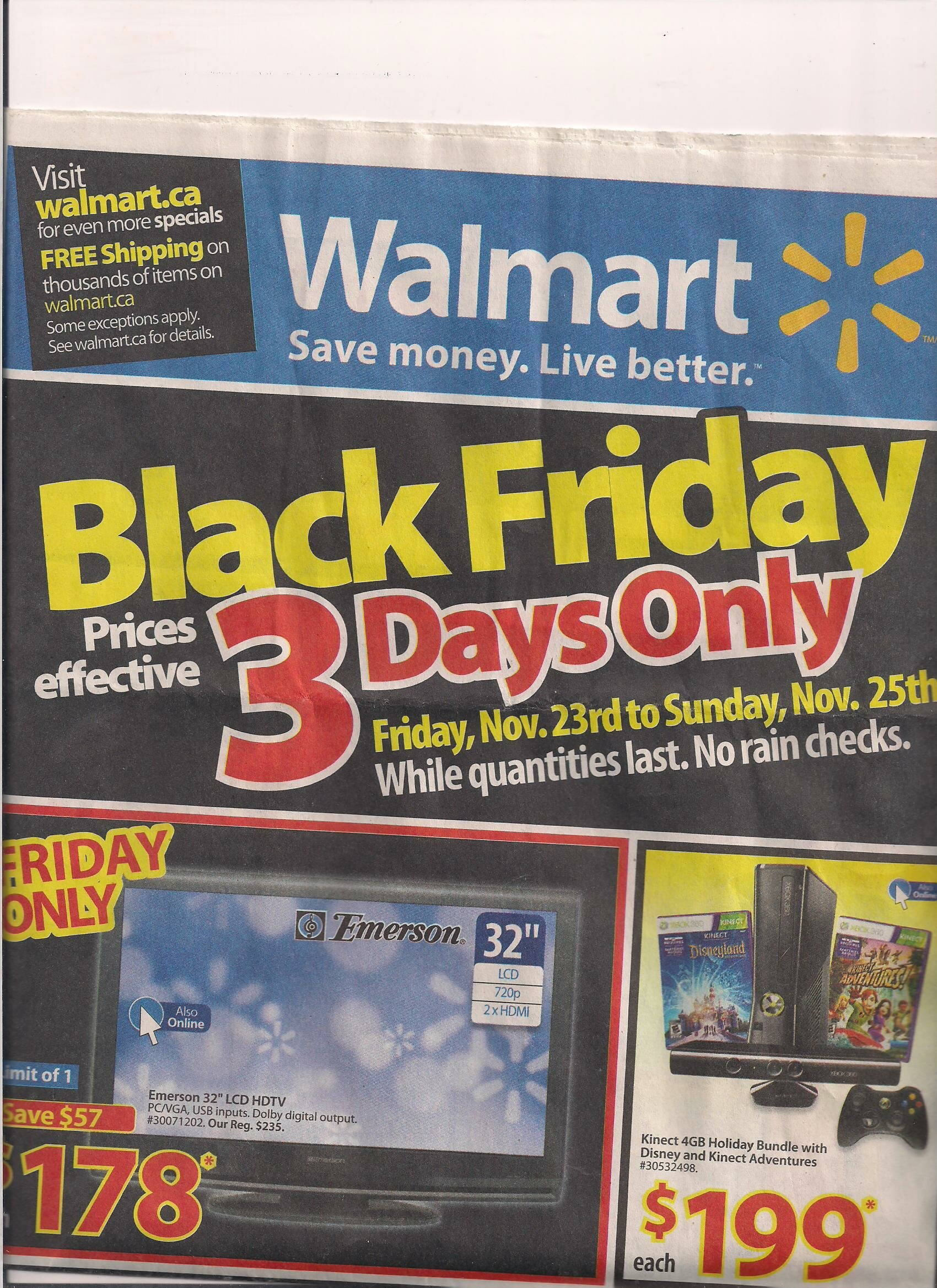 *WALMARTS BLACK FRIDAY SNEAK PEEK 3 – DAY ONLY FLYER*