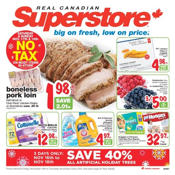 NO TAX WEEKEND at Real Canadian Superstore (Ontario) Nov. 17 – 18th