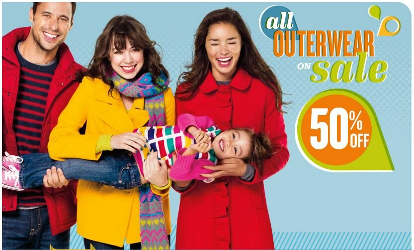 Old Navy 50% off Outerwear