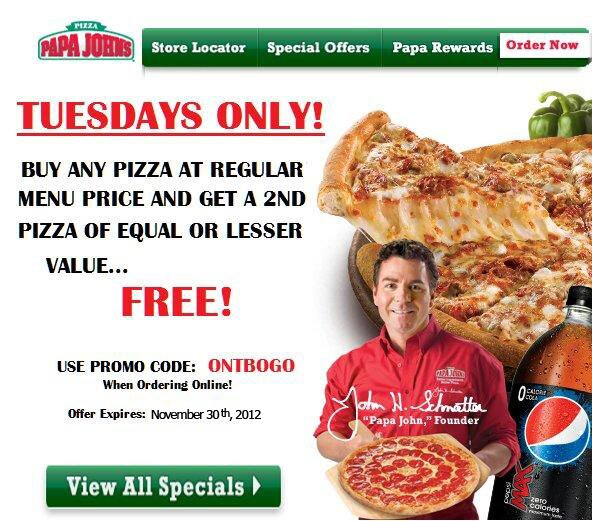 Papa John's Tuesday Deal!