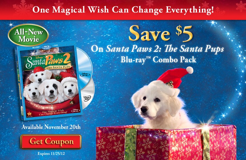 $5 off Santa Paws 2 Movie with your Disney Rewards Printable
