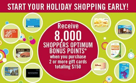 Shoppers Drug Mart GIFT CARD PROMO = 8000 free bonus points