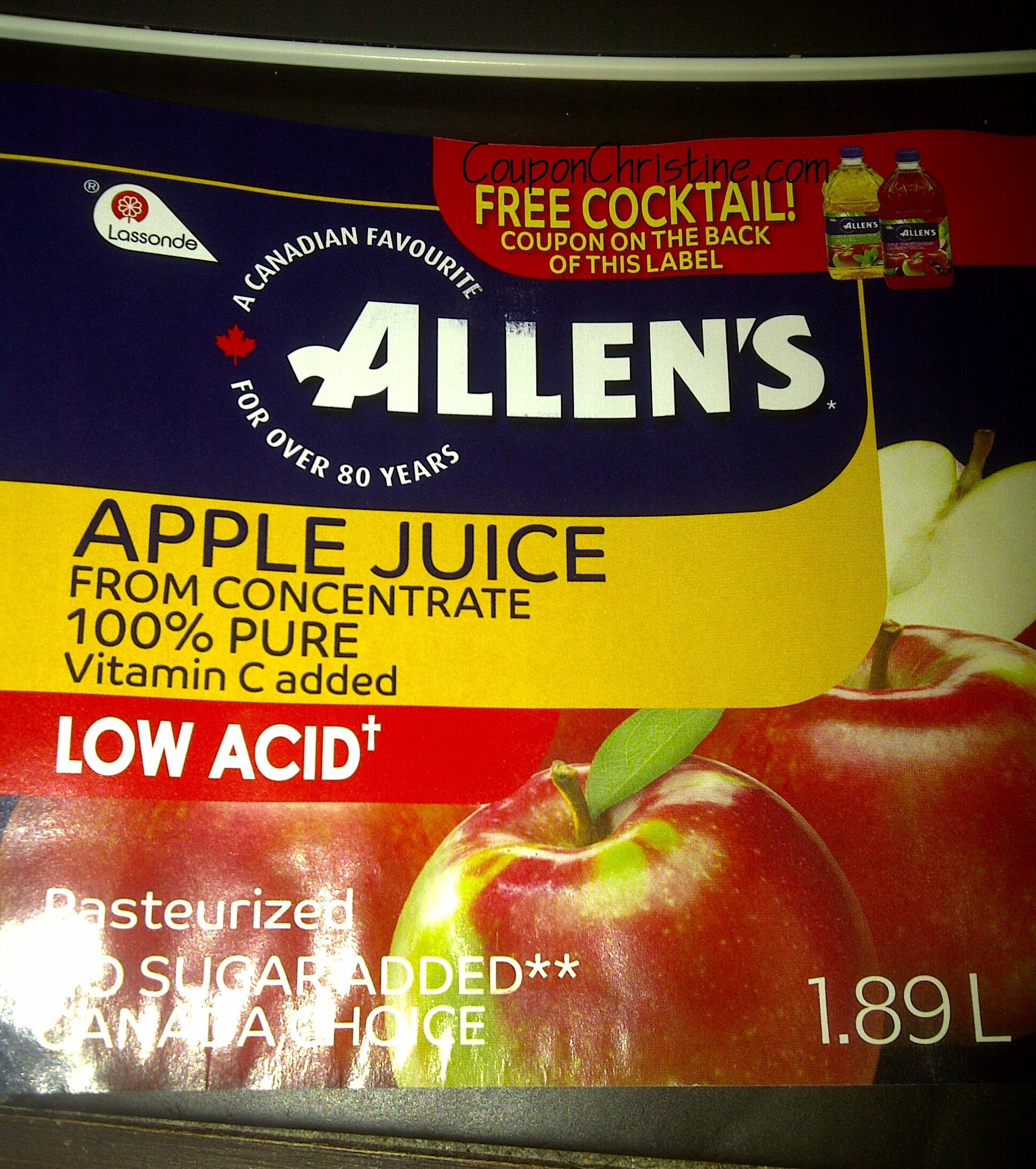 NEW FREE PRODUCT on Packaging of Allen's Apple Juice