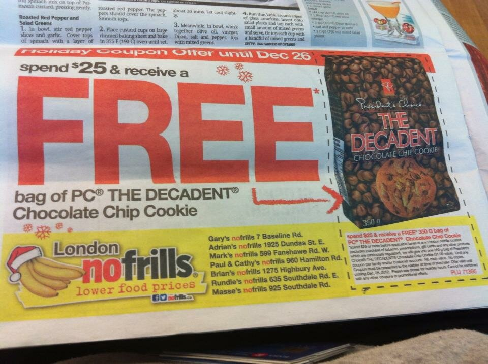 FREE COOKIES with $25 purchase at No Frills – Coupon in London Metro News