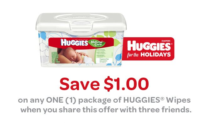 Save $1 on Huggies Wipes by Sharing this Coupon with Friends