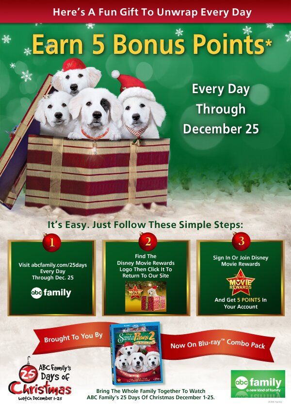 ABC Family's 25 Days of Christmas – 5 FREE POINTS DAILY until Christmas Day