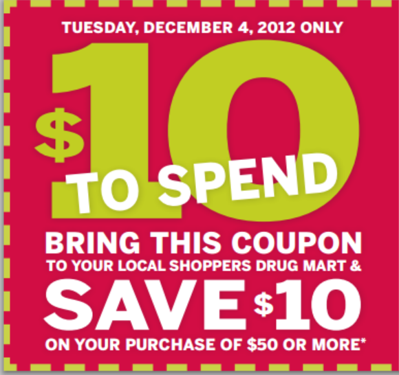 Save $10 wus $50 at Shoppers Drug Mart – Tues. Dec. 4, 2012