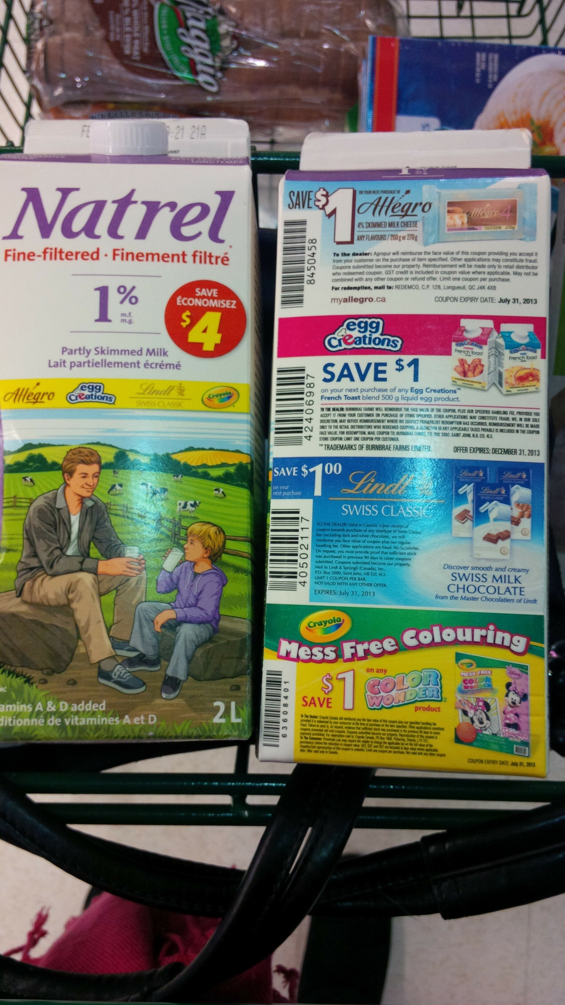 *Specially Marked 2L Natrel Milk Coupons* Crayola + Lindt Chocolate Coupons