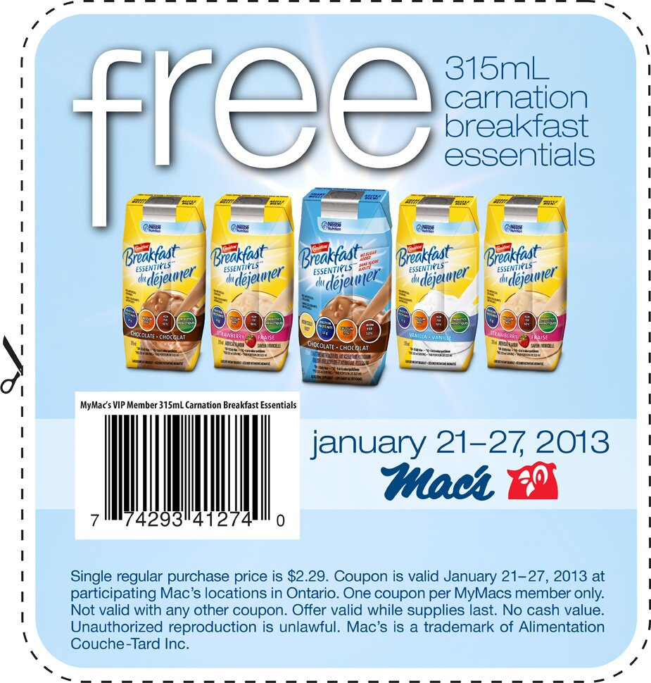 *FREE Carnation Breakfast Drink from Mac's * Jan 21 – 27, 2013 – ONTARIO only