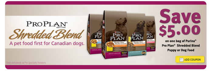 New *$5 Hidden ProPlan Dog Food Coupon on Save.ca*