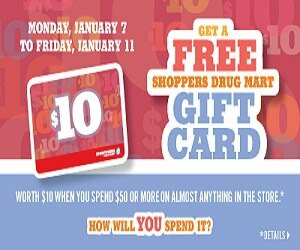 Free Shopper's $10 Gift Card when you Spend $50
