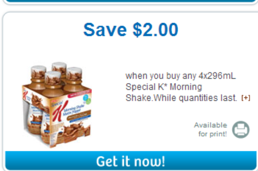 $2 off Kellogg's Breakfast Shake Coupon on Websaver