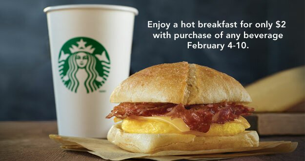 ** Starbucks now has Breakfast Sandwiches – $2 with drink purchase **