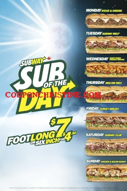 """""""Sub of the Day"""" COMING BACK to Subway's in London and Area starting March 15, 2013"""