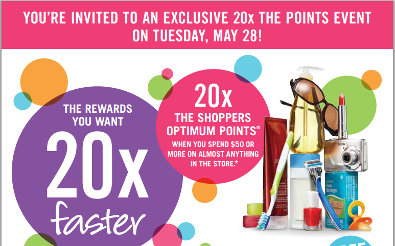 Get 20x the Points at Shoppers Drug Mart TOMORROW Friday, June 21 – SPECIAL BONUS DAY – Coupon Required