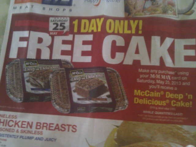 Free Deep and Delicious Cake at M&M Meats *Sat. May 25th ONLY*