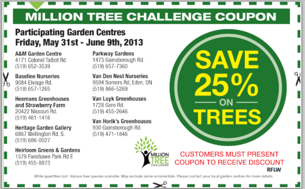 Need a new Tree for your property London?  Why not use this 25% off coupon!