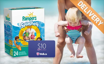 Pampers Splashers + $10 Well.ca Gift Card for $16!  1 day left!