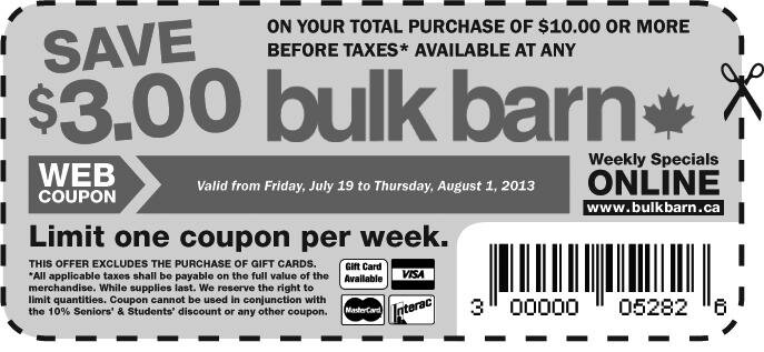 BulkBarn – $3 off any $10 bill (July 19 – August 1, 2013)