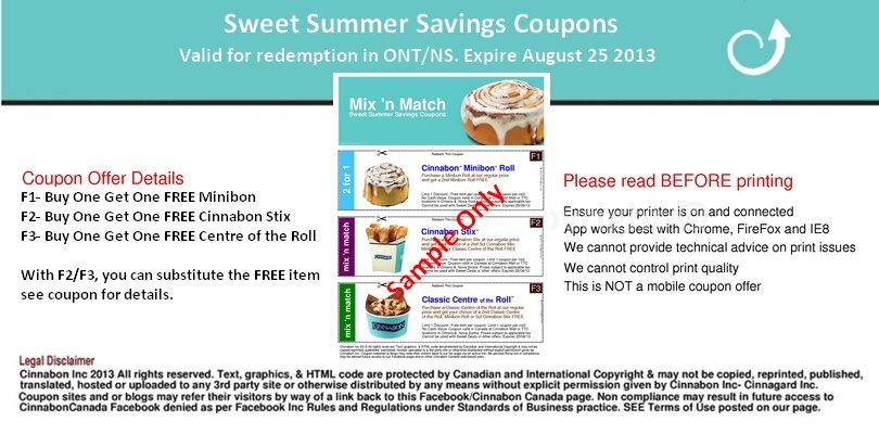 Cinnabon COUPONS!  Yum yum … CINNABON! *Printable Only*