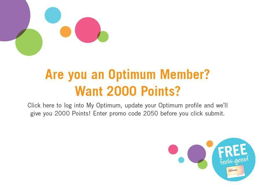 2000 FREE Optimum Points!  Running this PROMO AGAIN!