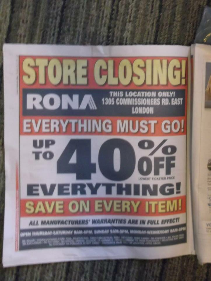 Rona Store Closing: London location Store Closing up to 40% off Sale