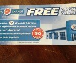 FREE OIL CHANGE coupon found at Little Caesars in St Thomas, Ontario