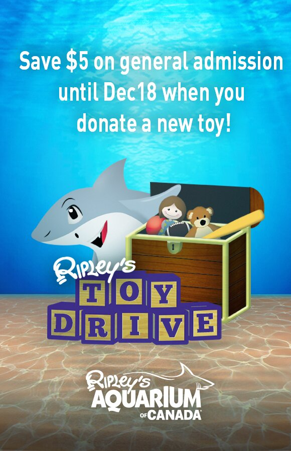 Toronto's Ripley's Aquarium donate a toy get $5 off!