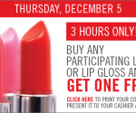 B1G1 Free Lipstick/Lipgloss at Shoppers TOMORROW, Dec. 5th from 5-8pm ONLY