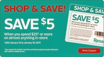 Rexall Coupon $5.00 off a $25.00 Purchase
