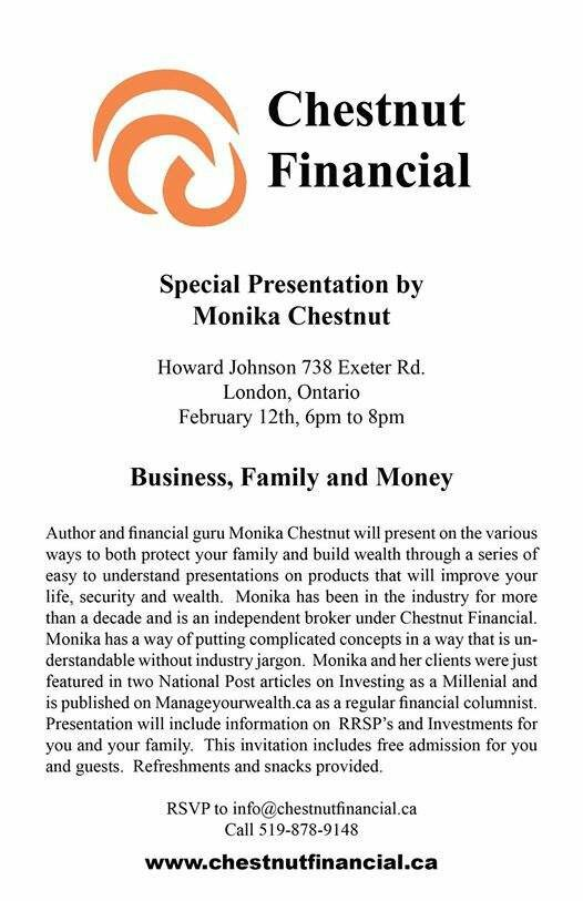 FREE SEMINAR on Business, Family and MONEY in LONDON with Monika on Wed. Feb. 12